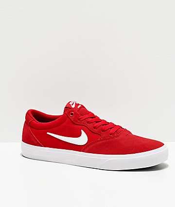 Nike SB Chron SLR Red & White Skate Shoes