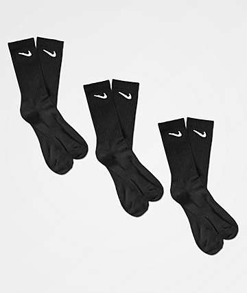 Nike SB Everyday Lightweight 3 Pack Black Crew Socks
