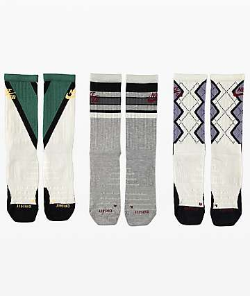 Nike SB Everyday Max Lightweight Grey, Green, & Navy 3 Pack Crew Socks