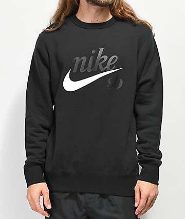 Nike SB Icon Craft Black Crew Neck Sweatshirt