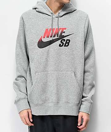 Nike SB Icon Grey, Red & Black Hoodie