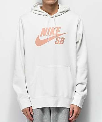 Nike SB Icon sudadera con capucha blanca y rosa