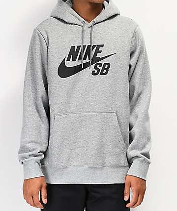 Nike SB Icon sudadera con capucha gris y negra