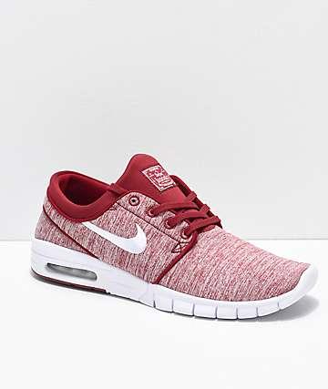 Nike SB Janoski Air Max Red Crush & White Skate Shoes
