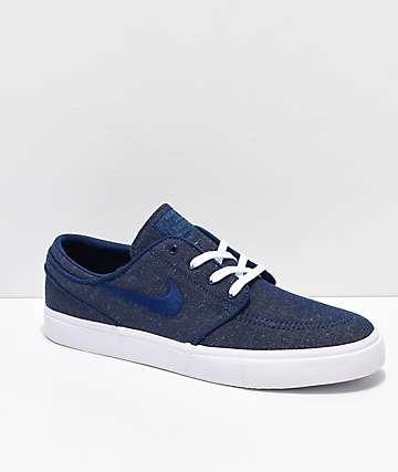 Nike SB Janoski Blue Void & White Canvas Skate Shoes