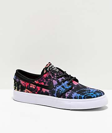 Nike SB Janoski Bright Crimson & Black Tie Dye Skate Shoes
