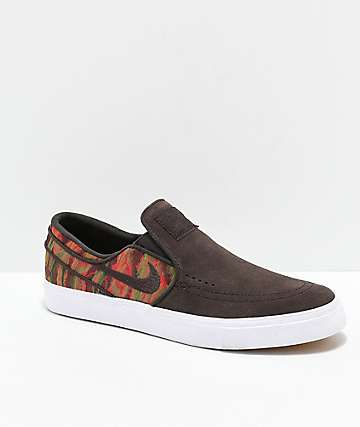 Nike SB Janoski Brown, White & Guatemalan Print Slip-On Skate Shoes