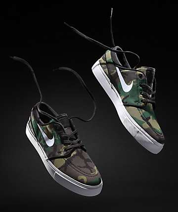 Nike SB Janoski Camo & White Canvas Skate Shoes