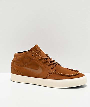 Nike SB Janoski Mid RM Crafted Tan & White Skate Shoes