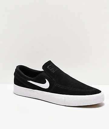 Nike SB Janoski RM Black & White Slip-On Skate Shoes