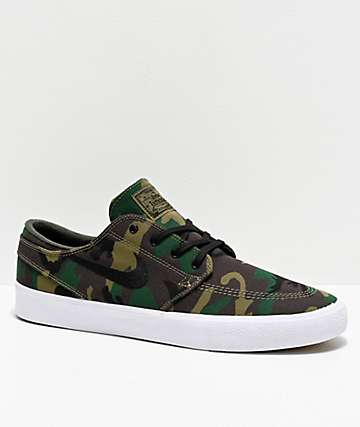 Nike SB Janoski RM Woodland Camo Canvas Skate Shoes