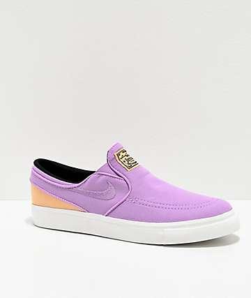 Nike SB Janoski Slip-On Purple & White Skate Shoes