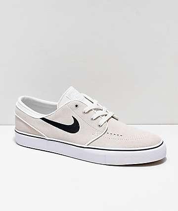 Nike SB Janoski Summit White & Black Suede Skate Shoes