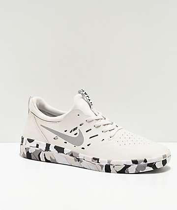 Nike SB Nyjah Free Summit zapatos de skate blancos y de camuflaje