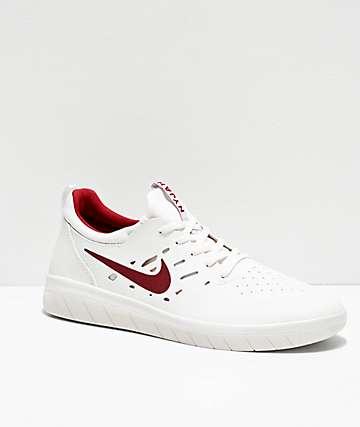 Nike SB Nyjah Free Summit zapatos de skate en blanco y carmesí