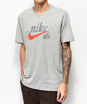 Nike SB Script Grey & Red T-Shirt
