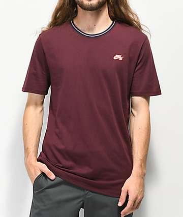 Nike SB Striped Ribbed Burgundy T-Shirt