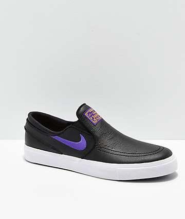 Nike SB x NBA Janoski Black & Purple Slip-On Skate Shoes
