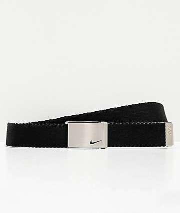 Nike cinturón tejido reversible negro y blanco