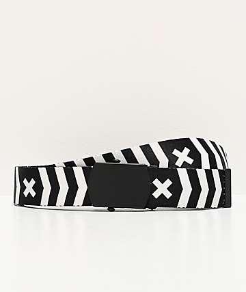 Ninth Hall Bolt cinturón tejido negro y blanco de rayas