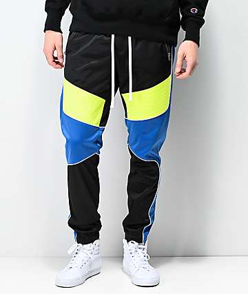Ninth Hall Brake Moto Black, Blue & Green Track Pants