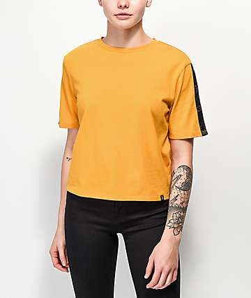 Ninth Hall Claude Snap Sleeve Yellow Crop T-Shirt
