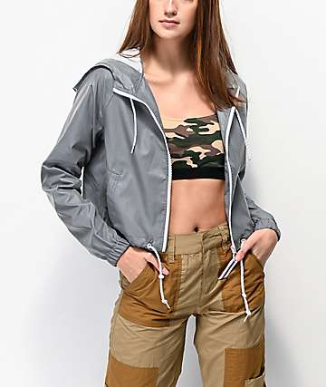 Ninth Hall Jayta Reflective Silver Crop Windbreaker Jacket