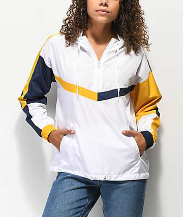 Ninth Hall Liza White, Yellow & Navy Anorak Windbreaker Jacket
