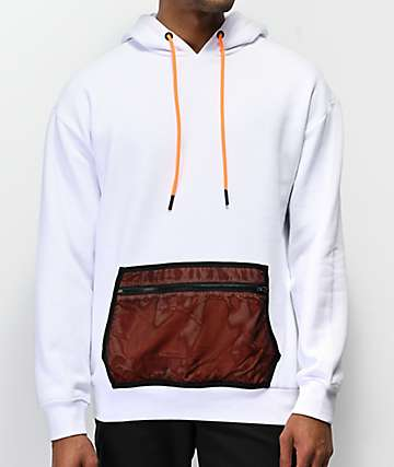 Ninth Hall Meshed Up White & Orange Hoodie