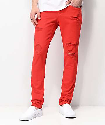 Ninth Hall Rogue Slashed jeans rojos ajustados