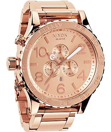 Nixon 51-30 Rose Gold Chronograph Watch