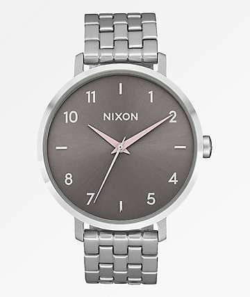 Nixon Arrow Silver & Pale Pink Analog Watch