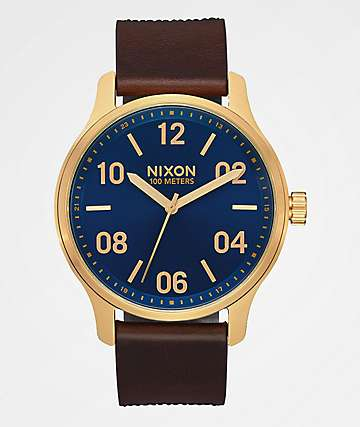Nixon Patrol Leather Navy, Brown & Black Gator Watch