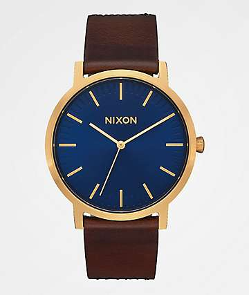 Nixon Porter Leather Navy, Brown & Black Gator Analog Watch