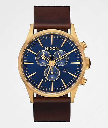 Nixon Sentry Chrono Leather Navy, Brown & Black Gator Analog Watch