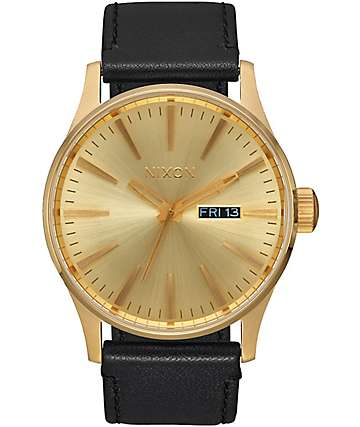 Nixon Sentry Gold & Black Leather Watch