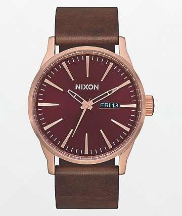 Nixon Sentry Leather Rose Gold, Burgundy & Brown Analog Watch