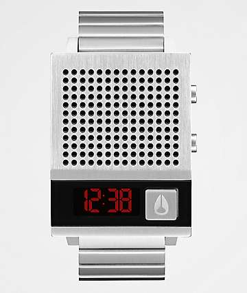 Nixon The Dork Too Silver & Black Digital Watch