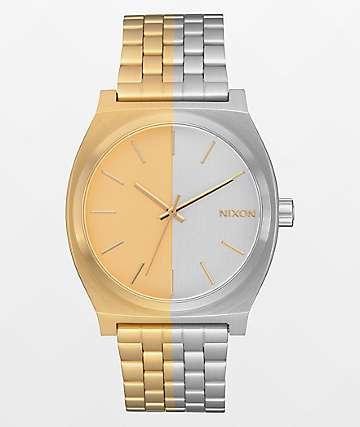 Nixon Time Teller reloj analógico asimétrico negro y dorado