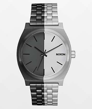 Nixon Time Teller reloj analógico asimétrico negro y plata