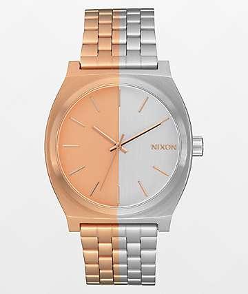 Nixon Time Teller reloj analógico asimétrico oro rosa y plata