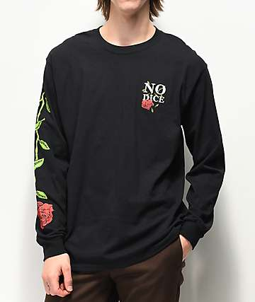 No Dice Rose Black Long Sleeve T-Shirt