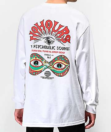 NoHours Psychedelic Sounds White Long Sleeve T-Shirt