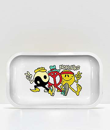 NoHours Trippy Friends White & Gold Tray