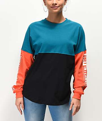 Obey Addison Colorblock Teal Long Sleeve T-Shirt