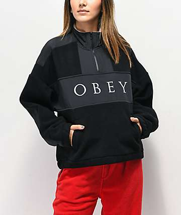 Obey Alpine Black Quarter Zip Fleece Jacket