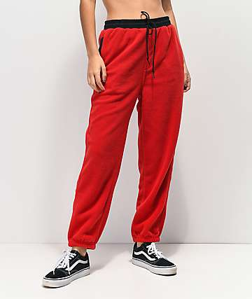 Obey Alpine Red Fleece Jogger Sweatpants