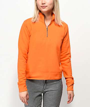 Obey Anya Orange Quarter Zip Pullover Fleece