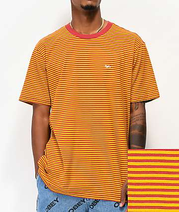 Obey Apex Red & Yellow Stripe Knit T-Shirt