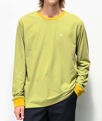 Obey Apex camiseta de manga larga dorada y azul de rayas